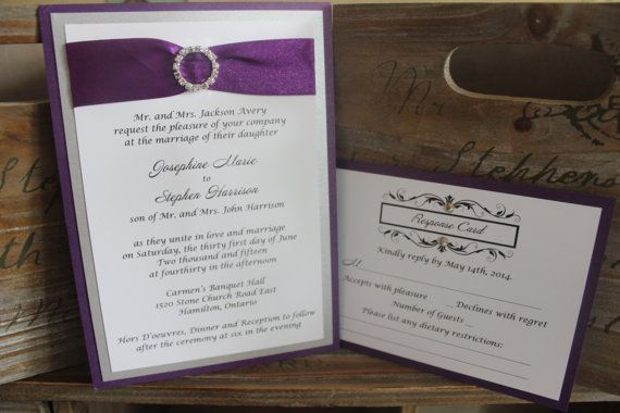 Purple and Silver Wedding Invitations  by SmittenPaperDesigns