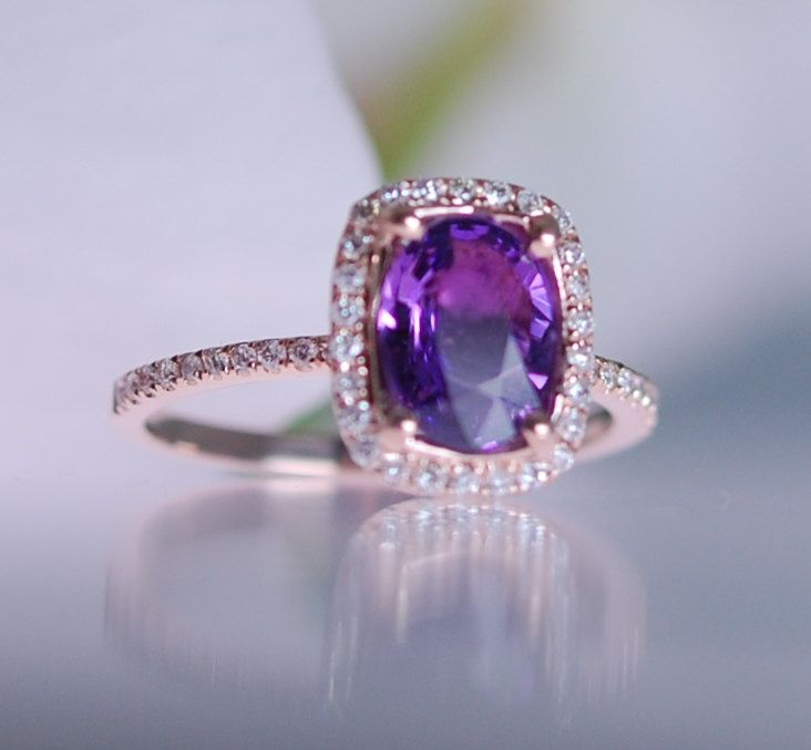 Purple Sapphire Rose Gold Ring 14k rose gold by EidelPrecious
