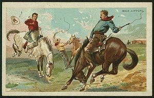 Cowboys on bucking horses