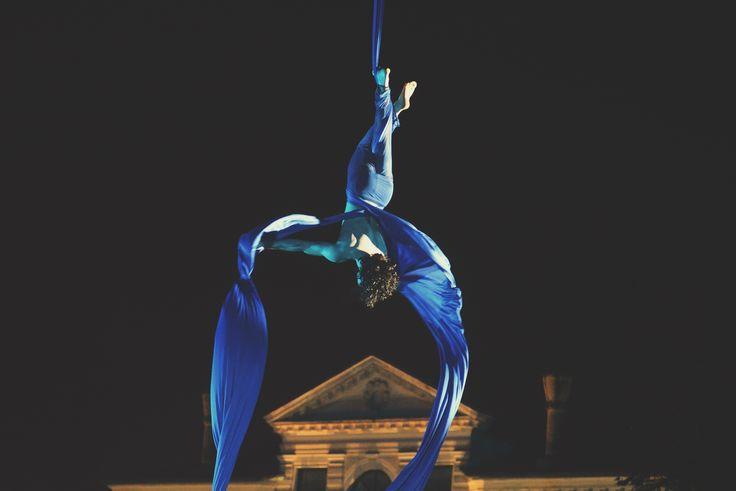 "Nico Gattullo performs aerial silks during his show ""DREAM"" over Naviglio Brenta in Mira (Venice). Ph. Angelo Frontin"