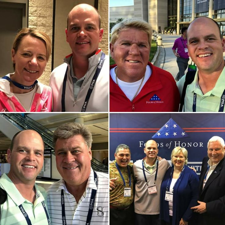 Our Director of Golf, Tony Letendre, PGA, got Major photo ops at the 2018 PGA Merchandise Show. The legendary Annika Sörenstam, 10-time major champion, the colorful John Daly, 2-time major champion, and Hal Sutton, 1983 PGA Champion & 2004 Ryder Cup captain. Along with the Folds of Honor crew Major Ed Pulido, past PGA President Allen Wronowski & his wife Gail Wronowski. #PGAShow #Golf #GolfCollege #PGCCGolf