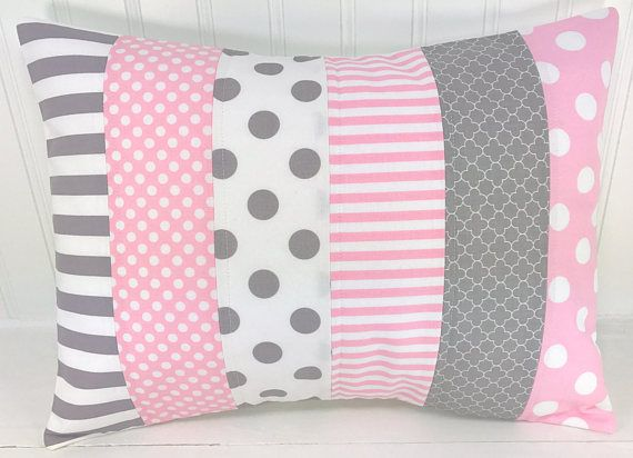 Throw Pillow Cover, Nursery Cushion Cover, Nursery Decor, Crib Bedding, Girl Nursery, Pillow, 12 x 16 Inches, Baby,Pink, Grey, Gray, Chevron