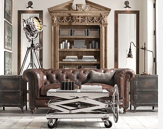 Lovely Industrial Chic Living Room With Metal And Gold   Trend Spotting  Heavy  Metals   Metallic Furniture And Decor, Home Design And Decor Trends And Ideu2026