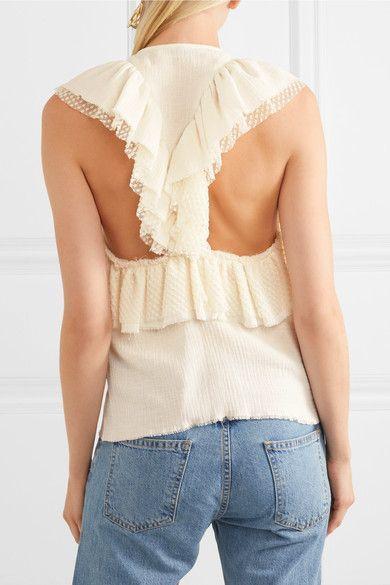 Philosophy di Lorenzo Serafini Ruffled Swiss-dot, lace and cotton-muslin blouse