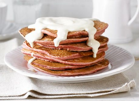 These pancakes are indeed eye-catching with their flamboyant colour. The beets provide the colour but don't overwhelm the taste.