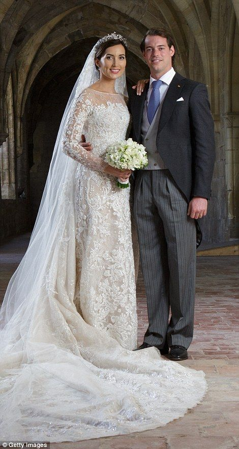 German Claire Lademacher married Prince Félix of Luxembourg wearing a spectacular Elie Saab gown made from Chantilly lace in September 2013