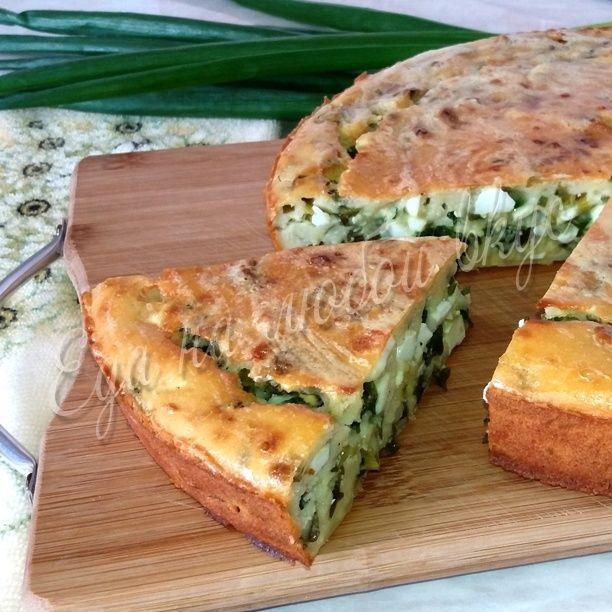 Заливной пирог на кефире с зеленым луком и яйцом. Очень вкусный и быстрый