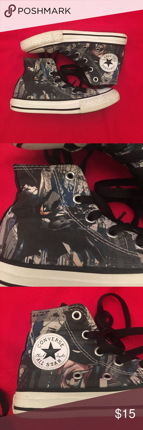 Boys Comic Batman Converse All Star Chucks These are super awesome!! They have batman on them! The back label is worn on both shoes but otherwise great condition! Converse Shoes Sneakers