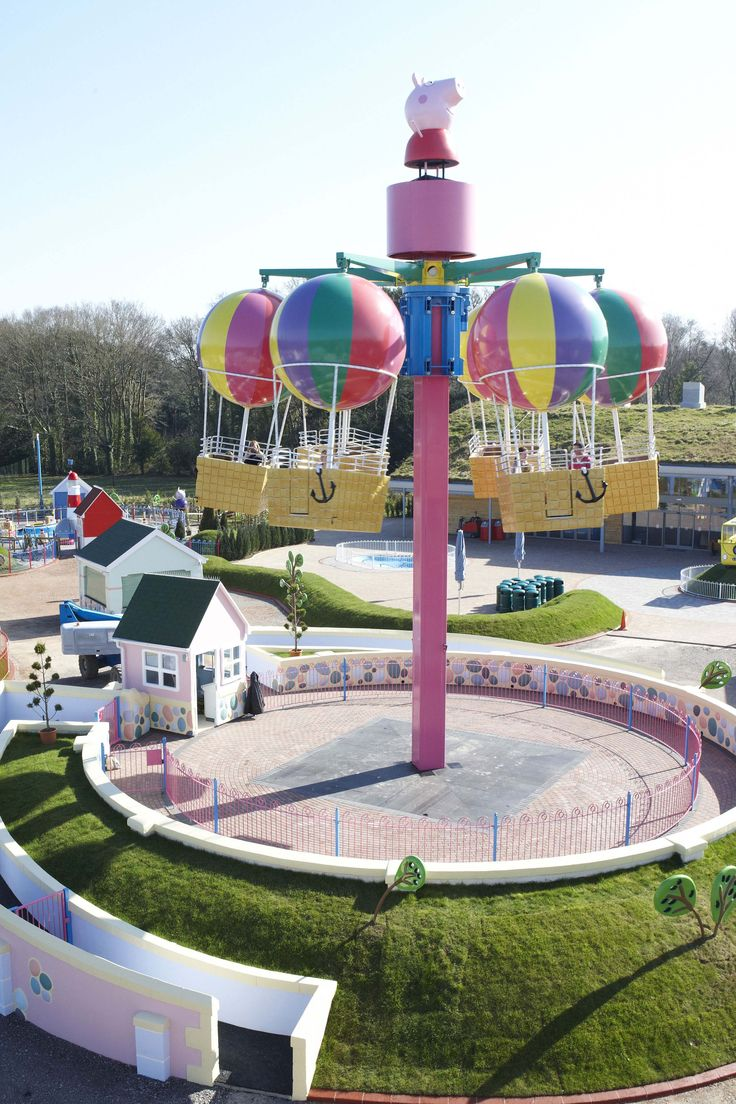 Peppa's Big Balloon Ride in Paultons Park. Take to the skies on this magical ride that gives you an amazing view over Peppa Pig World.