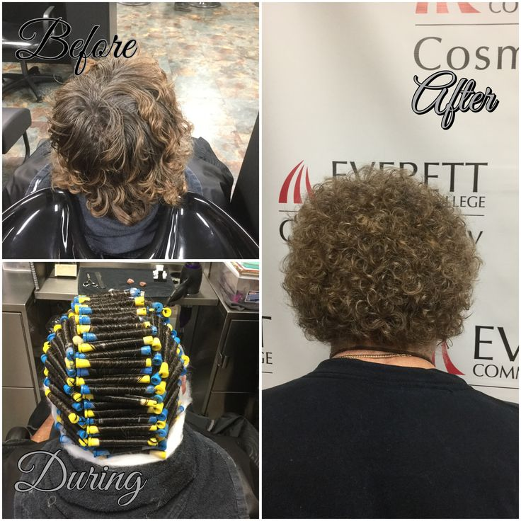 Basic Straight Back Perm Using Yellow And Blue Rods In