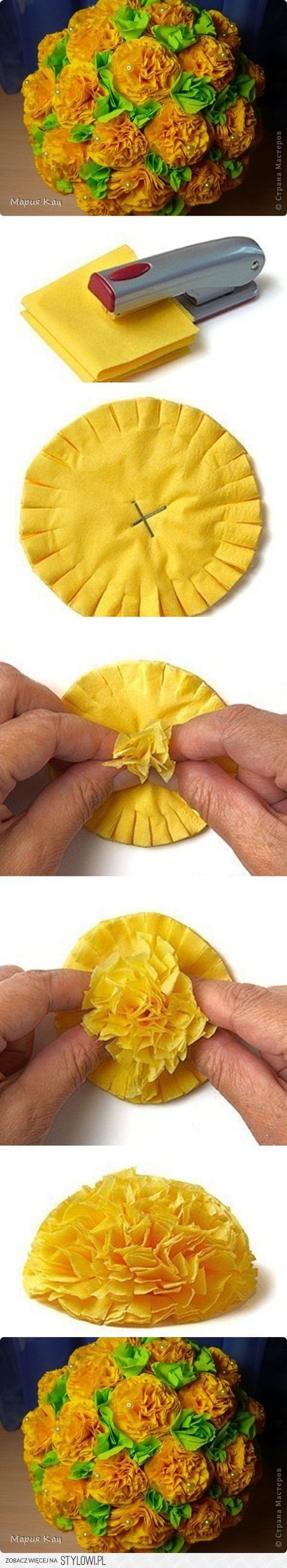 paper flower photo tutorial: crepe paper ... used to cover a styrofoam ball ... great party deco idea ...
