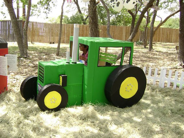 Play tractor made from cardboard boxes