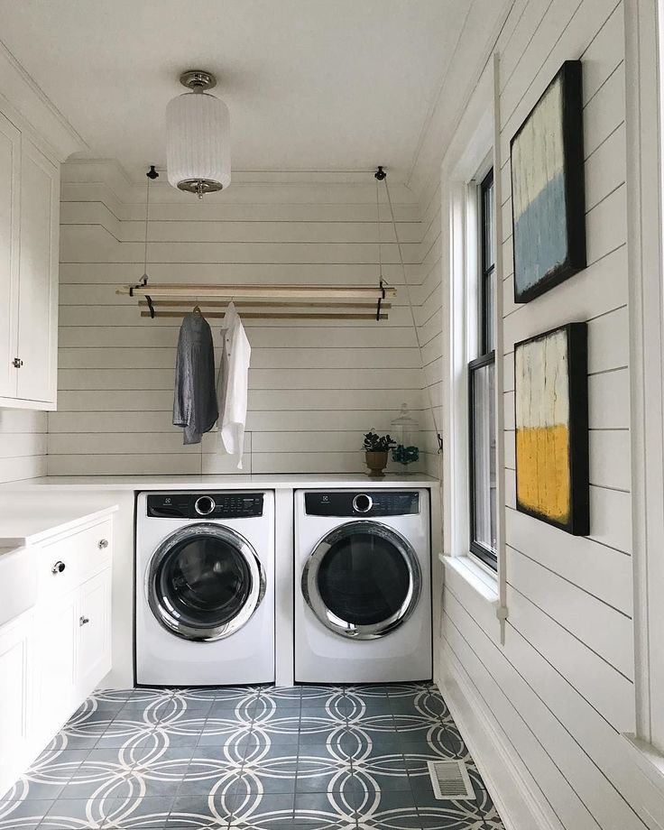 """Could I actually say """"laundry is fun""""? If it's in this laundry room, in our Inverness project then yes, I could and I would. #chrisandjosie"""