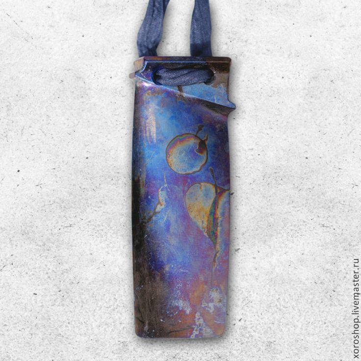 титановый галстук из лопасти от вентилятора - подвеска,титан,синий,кобальт