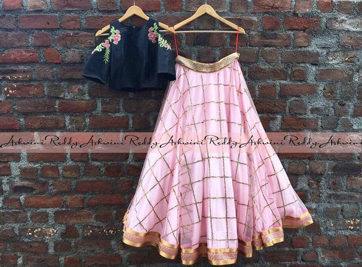 This is bliss ... chic in every inch! ashwinireddy arbride style fashion trend fashiongram instafashion pink black indian croptop skirts madewithlove 05 January 2017