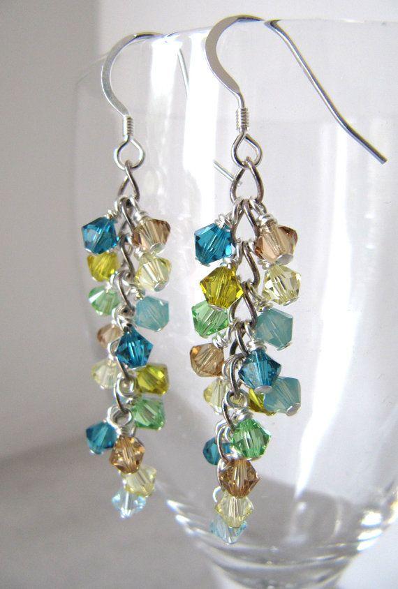 Lagoon Shower cluster earrings - Swarovski crystals, Sterling Silver