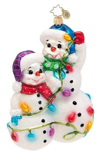 'Snowmen Glowmen' - glass Christmas ornament  - by Christopher Radko (Nordstrom) - Darling!