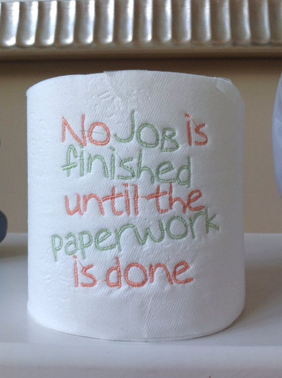 Machine Embroidered Toliet Paper for by StitchesByElizabeth