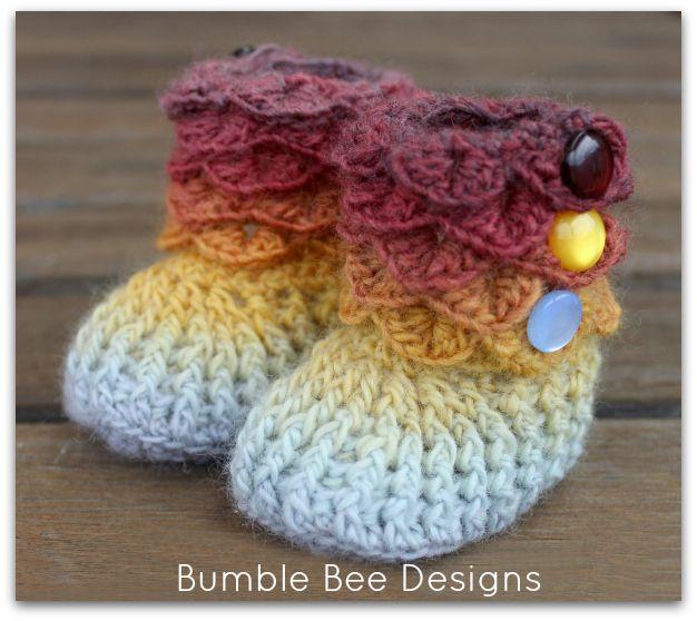 Crochet Crocodile Stitch Baby Booties Size 0 6 Months IN Silver Mustard Rust | eBay
