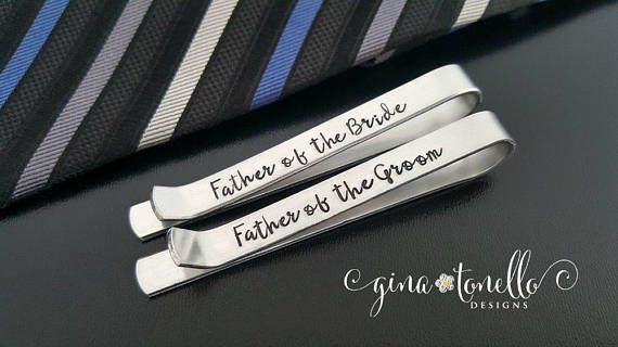 Father of Bride Gift, Gift for Father of Groom Tie Clip, Tie Clip Personalized Tie Bar, Non Engraved Tie Clip Stamped,… www.ginatonello.com