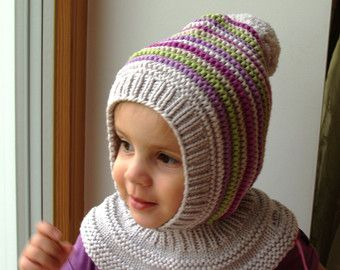 READY TO SHIP all sizes! Light grey Merino Pixie Balaclava Baby/ Toddler/ Girl Hoodie hat with Pom Pom in Grey, Purple and Green
