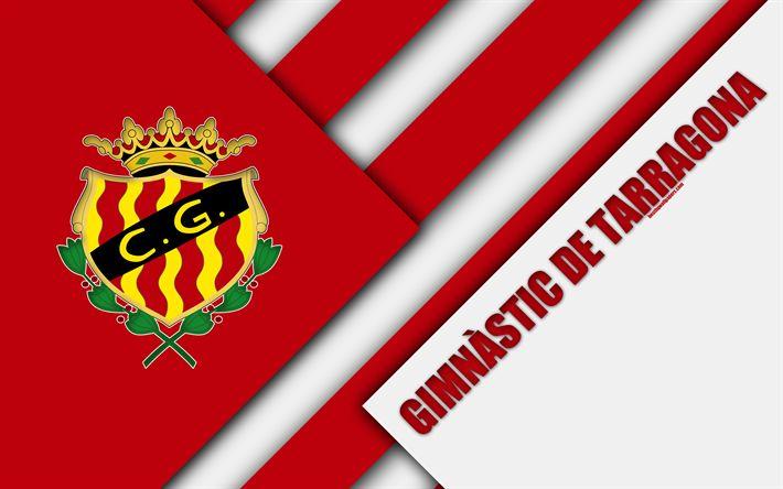 Download wallpapers Club Gimnastic de Tarragona, Gimnastic FC, 4k, material design, Spanish football club, red white abstraction, logo, Tarragona, Spain, Segunda Division, football