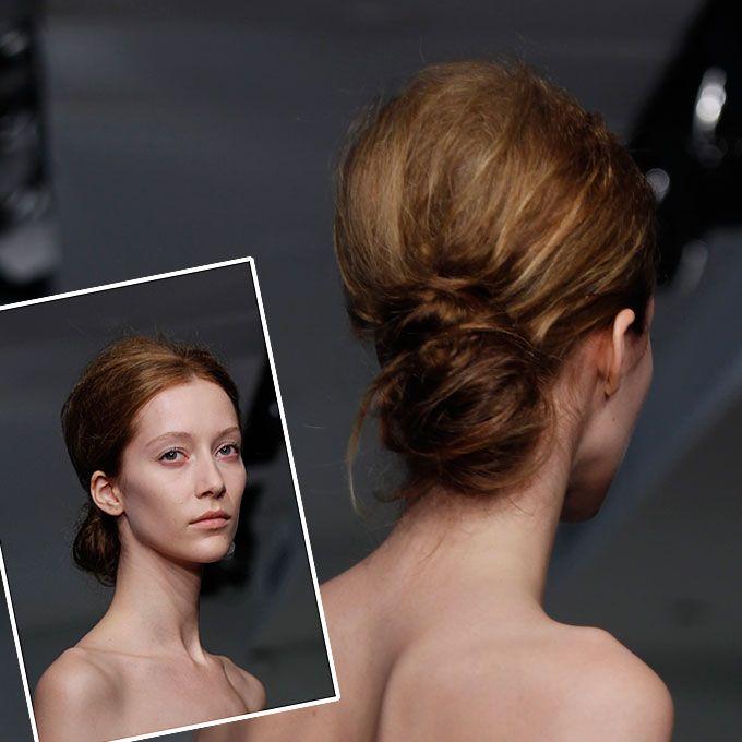 Modern, Messy Low Bun Wedding Hairstyle Idea