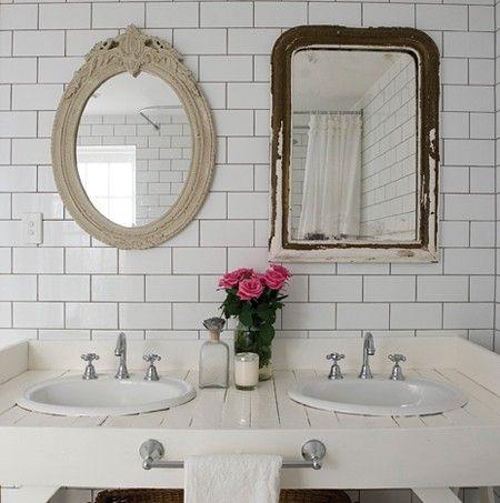 Subway tile in vintage-y bathroom