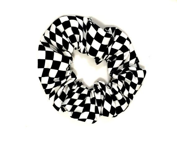 Green /& White Plaid Scrunchie  handmade soft and stretchy gentle hold