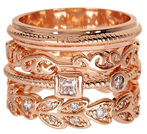 4 PCS Rose Gold Wholesale Gemstone Jewelry Stackable Ring Set $16.39 Per Set Sold In 2 Set Per Size Pack  Rose Gold Wholesale Gemstone Jewelry Stackable Ring Set