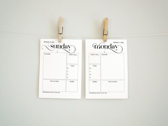 A4 sized printable planner pages for 2017