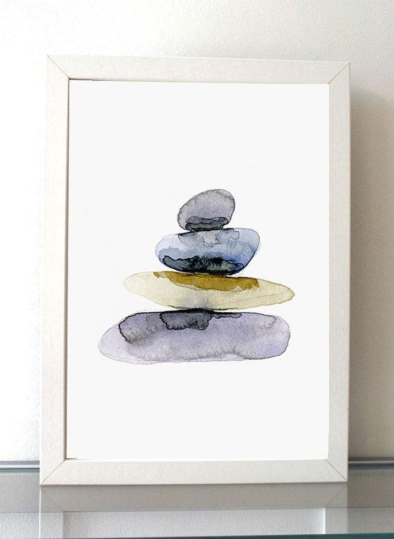 Pebbles Watercolor Painting, Fine Art prints, zen stones, Zen pebbles, lilac wall art, spiritual art, Meditation room decor, Buddhism Art