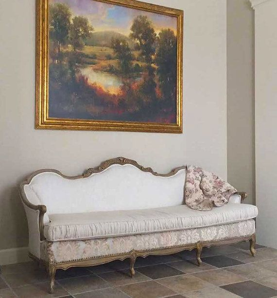 Antique Sofa & Loveseat-Carved wood, upholstered in linens and chenilles, nailhead trim and custom cushion covers and distressed painting $2,750 etsy