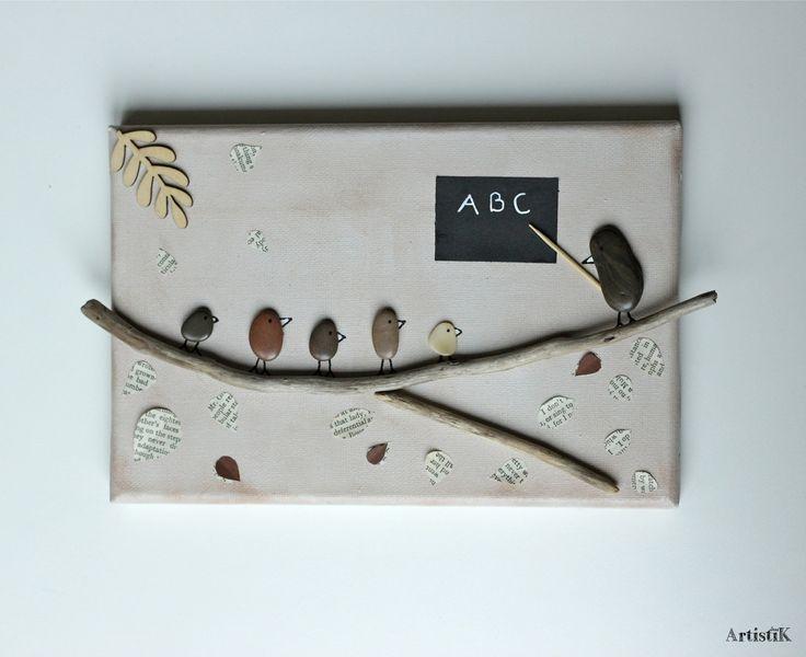 Les 85 meilleures images propos de tableaux galets for Tableau avec bois flotte