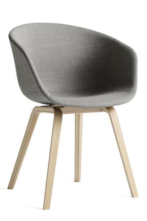Hay stoeltje stof grijs -> ook in wit ? Ziet er comfortabel uit!