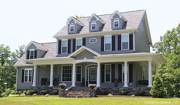 #Trend Watch: #Gray is the New Neutral! This #Colonial home has massive curb appeal in gray, black and white, with stone detail. See more on our House Plans Blog http://houseplansblog.dongardner.com/trend-watch-gray-new-neutral/