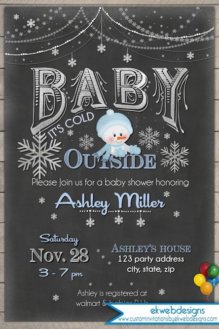 WINTER BABY SHOWER Invitation - Baby It's Cold Outside - Printable Baby Shower