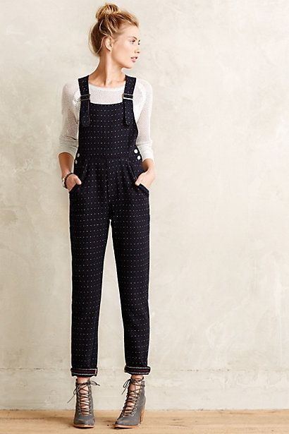 Dotted Tweed Overalls #anthropologie #anthrofave