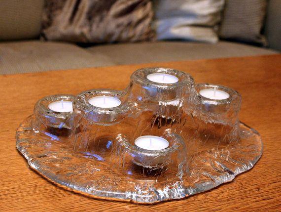 "Blown Glass ""Volcano"" (Tulivuori) TeaLight/Candle Holder by Muurla Finland"