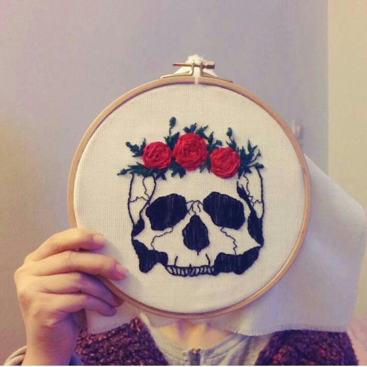 Skull Roses embroidery # embroidery