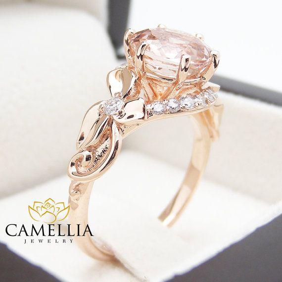Unique 2 Carat Morganite Ring Leaf Design by CamelliaJewelry