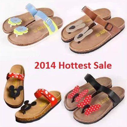 бесплатная доставка горячей ёенского тип мода мультфильм микки маус стиль корк тапочки сандалии флип-флоп дома для женщин тапочки обувь 1402,65