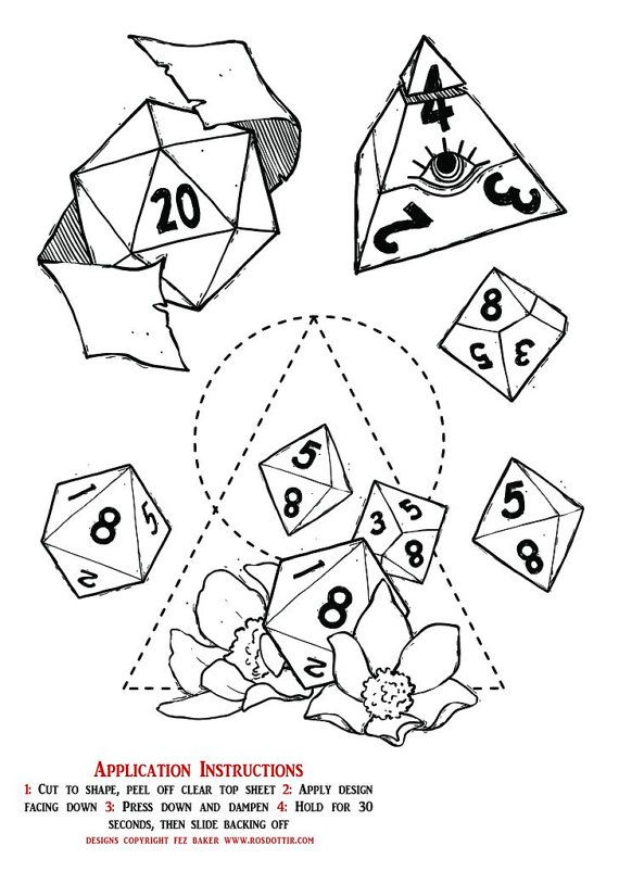 Be the coolest character in your D&D group with these temporary dice tattoos! This A5 sheet is packed with awesome designs that can be applied in under a minute with a bit of water and a damp cloth, and can be washed off easily at the end of the day with