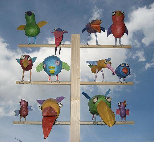 Papier mache birdies (for shoulders of pirates)