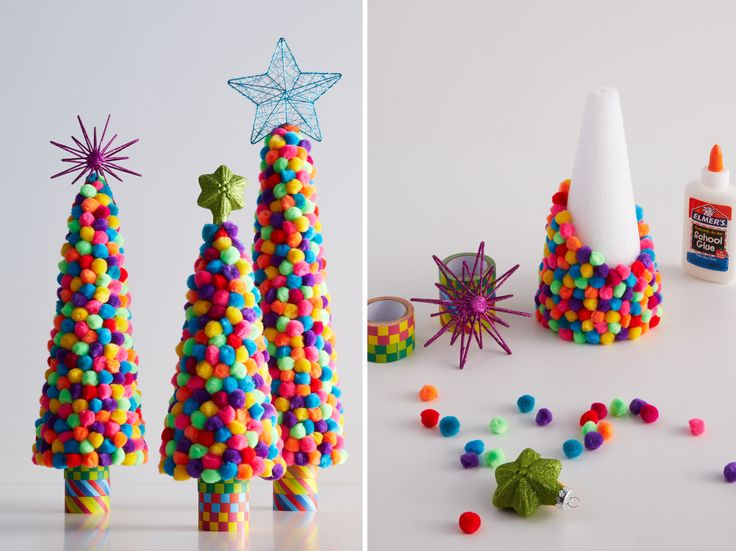 A quick, easy project for the kids: playful, pom-pom covered trees.: Crafts Ideas, For Kids, Pompom Trees, Pom Pom Trees, Crafts Kids, Easy Projects, Toddlers Crafts, Christmas Trees, Diy Christmas