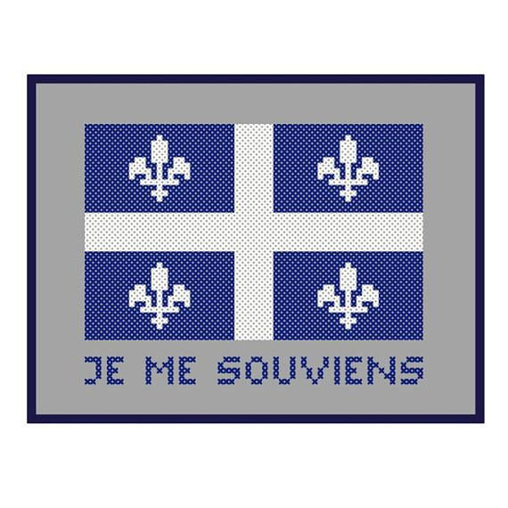 Quebec Flag PDF Pattern, Je Me Souviens Motto, Patriotic Canadiana Le Fleurdelisé, Cross Stitch Bead Embroidery Needlepoint, Canada Province