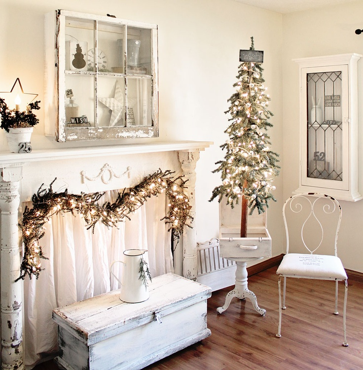 So gorgeous! shabby story: repurposed christmas family room...--there is much to like here, but I especially like the little tree in a drawer!