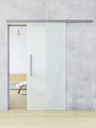 Interior Sliding Doors. Amazing Glass Door with a stainless steal sliding system. It also has soft close on both ends.