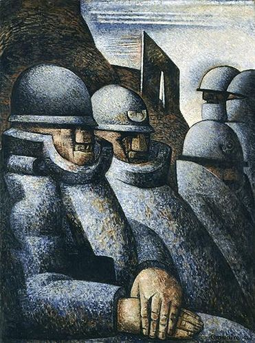 925 The War. Marcel Gromaire l (1892-1971) studied classically at Douai, then law which he abandoned When the war began he spent the next six years in the army and was wounded. After the war Gromaire returned to Paris and worked in a studio. A meeting with the collector, Dr. Girardin, established his career as an artist.  He painted many works on social subjects, and is often associated with Social Realism.