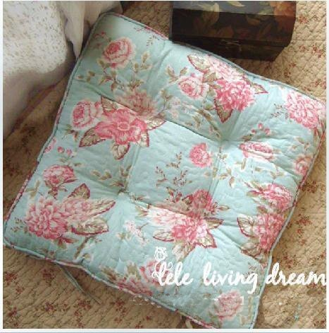 Shabby And Vintage Style Blue W/pink Floral Soft Chair Pad W/filling By